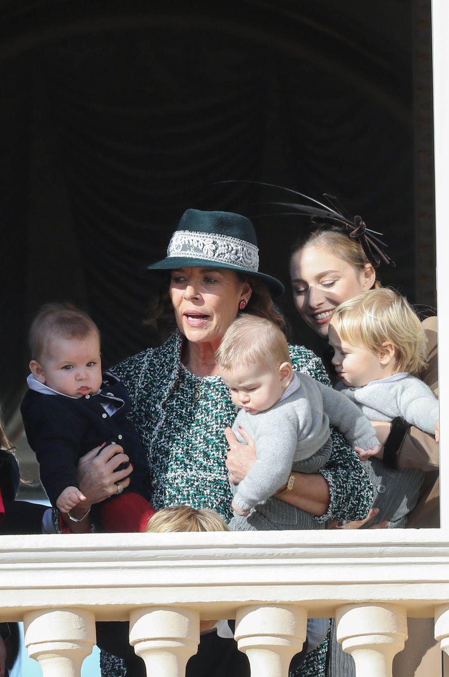 La princesse Caroline de Hanovre et Beatrice Borromeo avec Maximilian, Francesco et Stefano Casiraghi, à Monaco le 19 novembre 2018