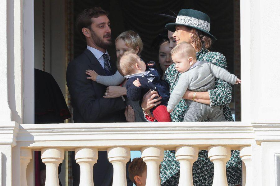 Pierre Casiraghi et la princesse Caroline de Hanovre avec Stefano, Maximilian et Francesco Casiraghi, à Monaco le 19 novembre 2018