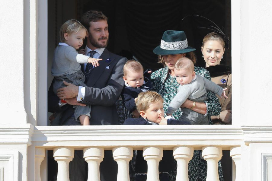 La princesse Caroline de Hanovre, Pierre Casiraghi, Beatrice Borromeo avec Stefano, Maximilian, Sacha et Francesco Casiraghi, à Monaco le 19 novembre 2018