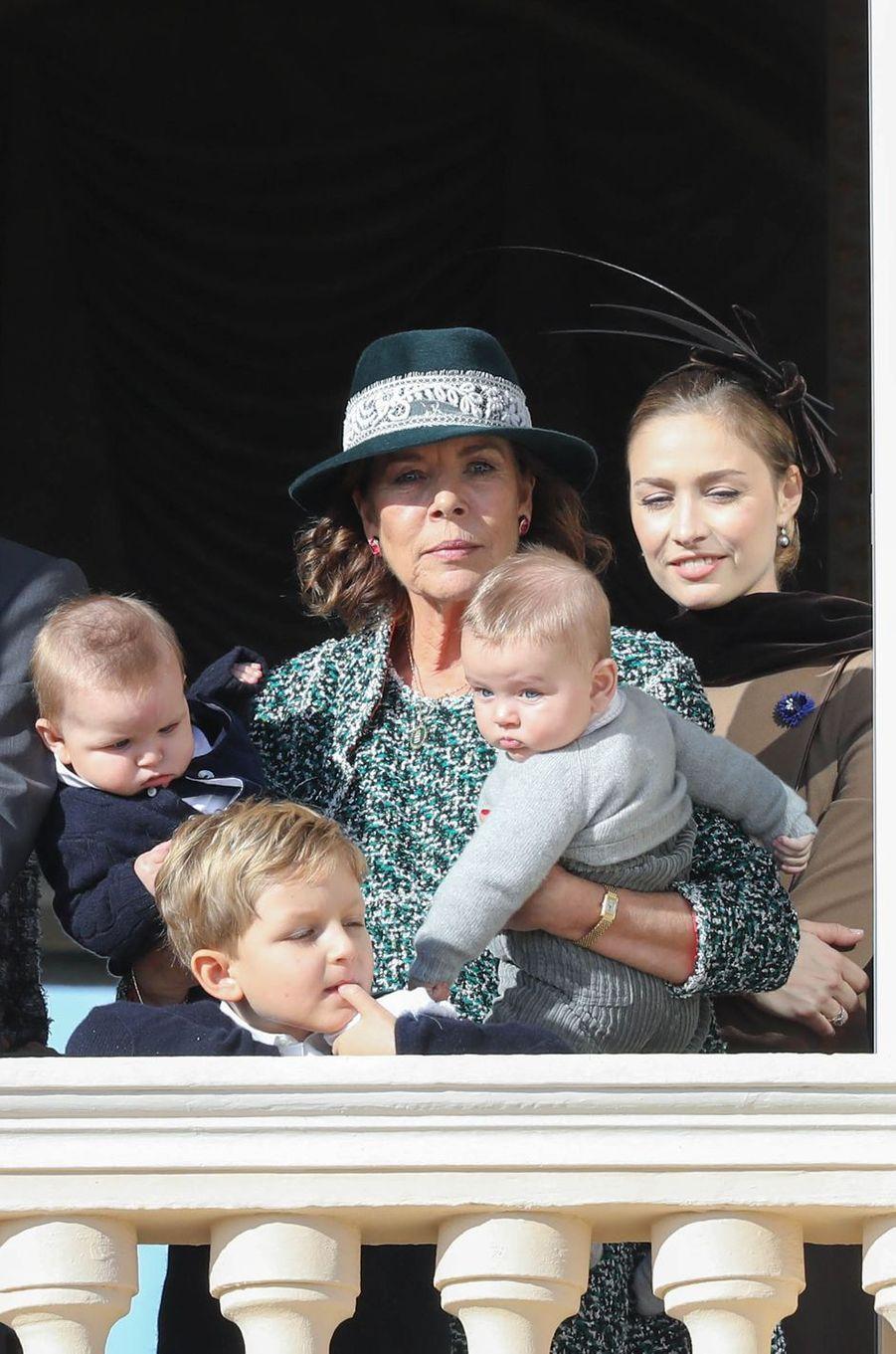 La princesse Caroline de Hanovre avec ses petits-fils Maximilian, Andrea et Francesco Casiraghi et Beatrice Borromeo-Casiraghi, à Monaco le 19 novembre 2018