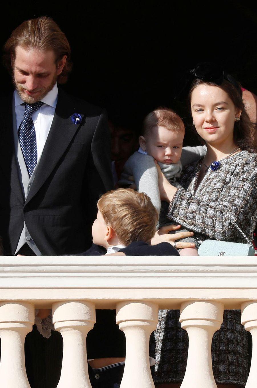 Andrea Casiraghi et la princesse Alexandra de Hanovre avec Sacha et Francesco Casiraghi à Monaco, le 19 novembre 2018