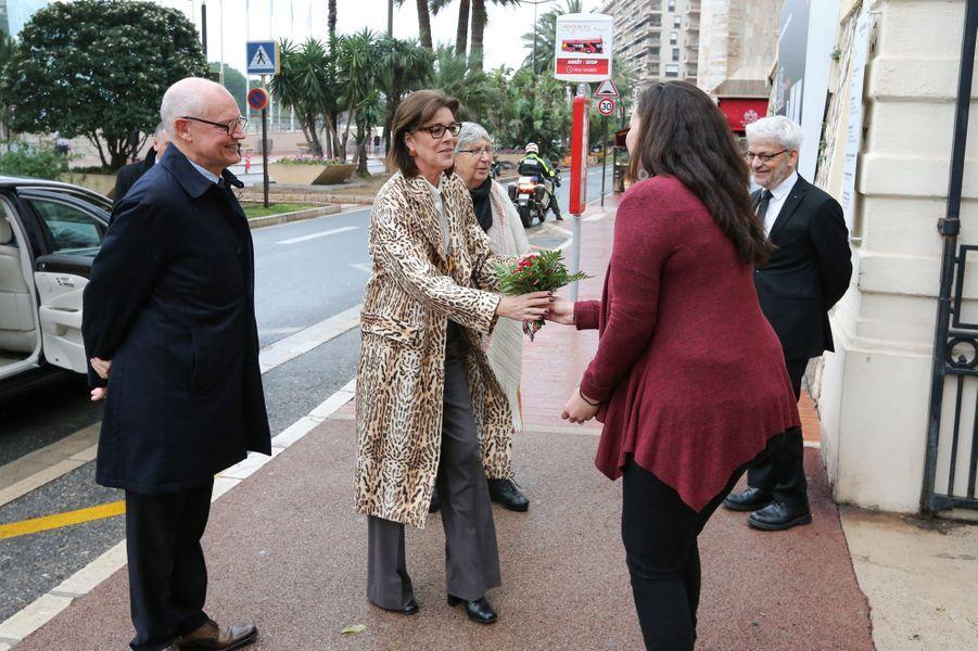 La princesse Caroline de Hanovre arrive au NMNM à Monaco, le 25 janvier 2018
