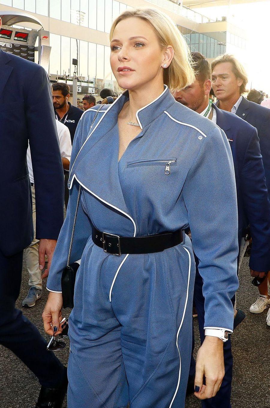 La princesse Charlène de Monaco au Grand Prix de F1 à Abu Dhabi, le 1er décembre 2019