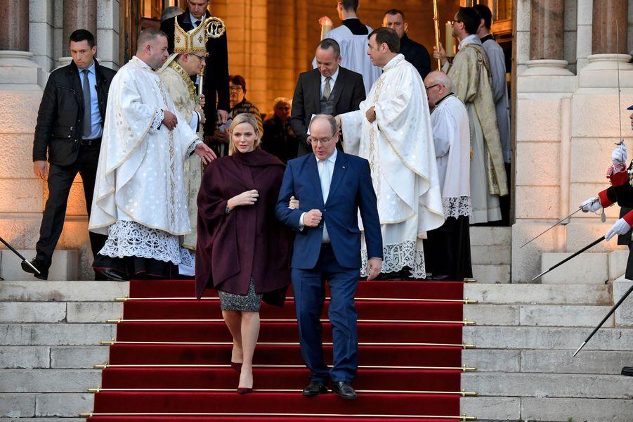 La princesse Charlène et le prince Albert II de Monaco à Monaco, le 8 mars 2020