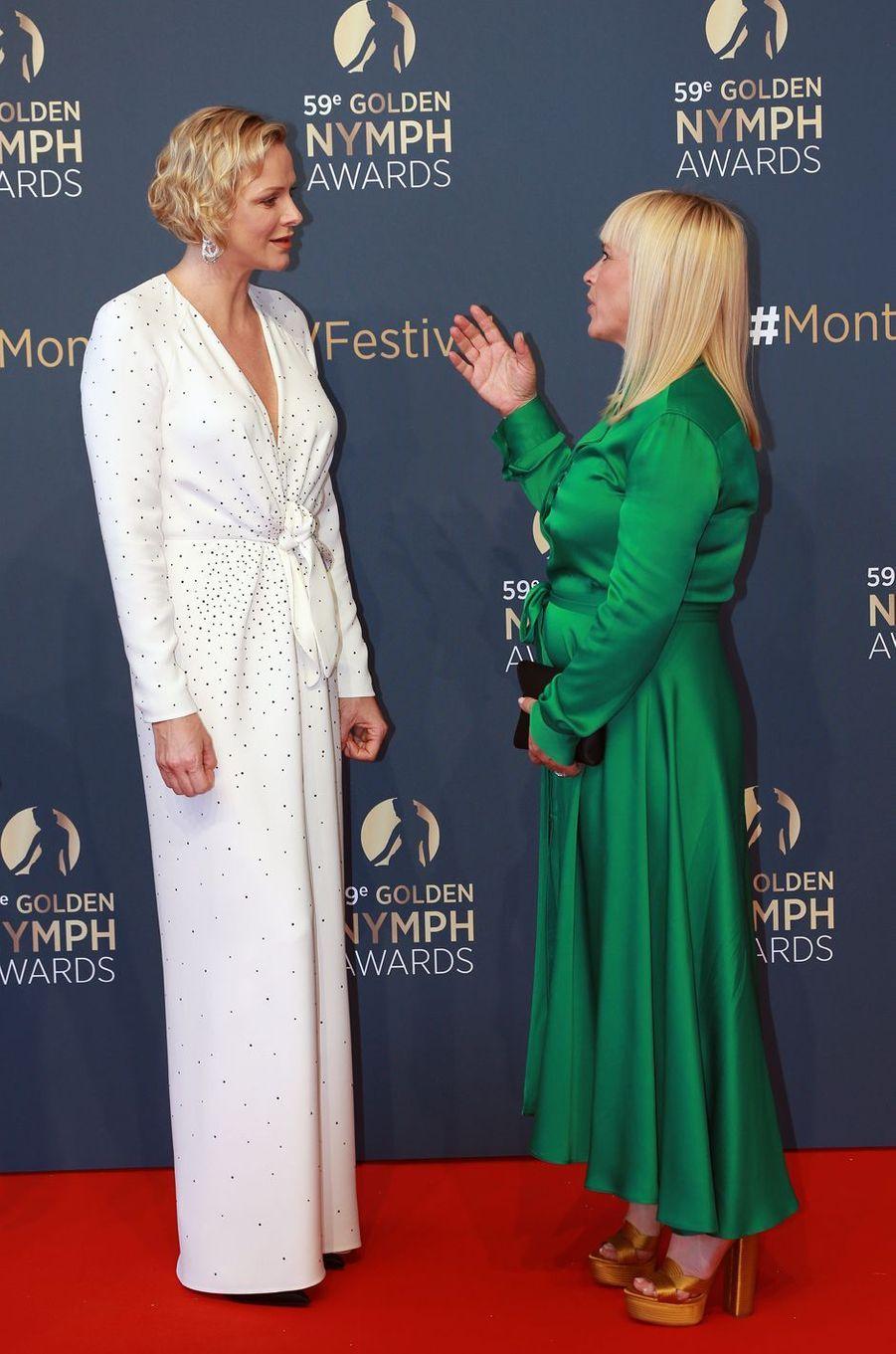 La princesse Charlène de Monaco avec Patricia Arquette à Monaco, le 18 juin 2019