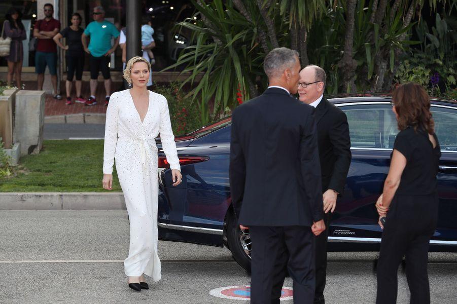 La princesse Charlène, en Louis Vuitton, avec le prince Albert II de Monaco à Monaco, le 18 juin 2019
