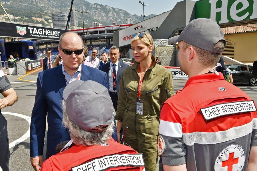 La princesse Charlène et le prince Albert II de Monaco à Monaco, le 26 mai 2018
