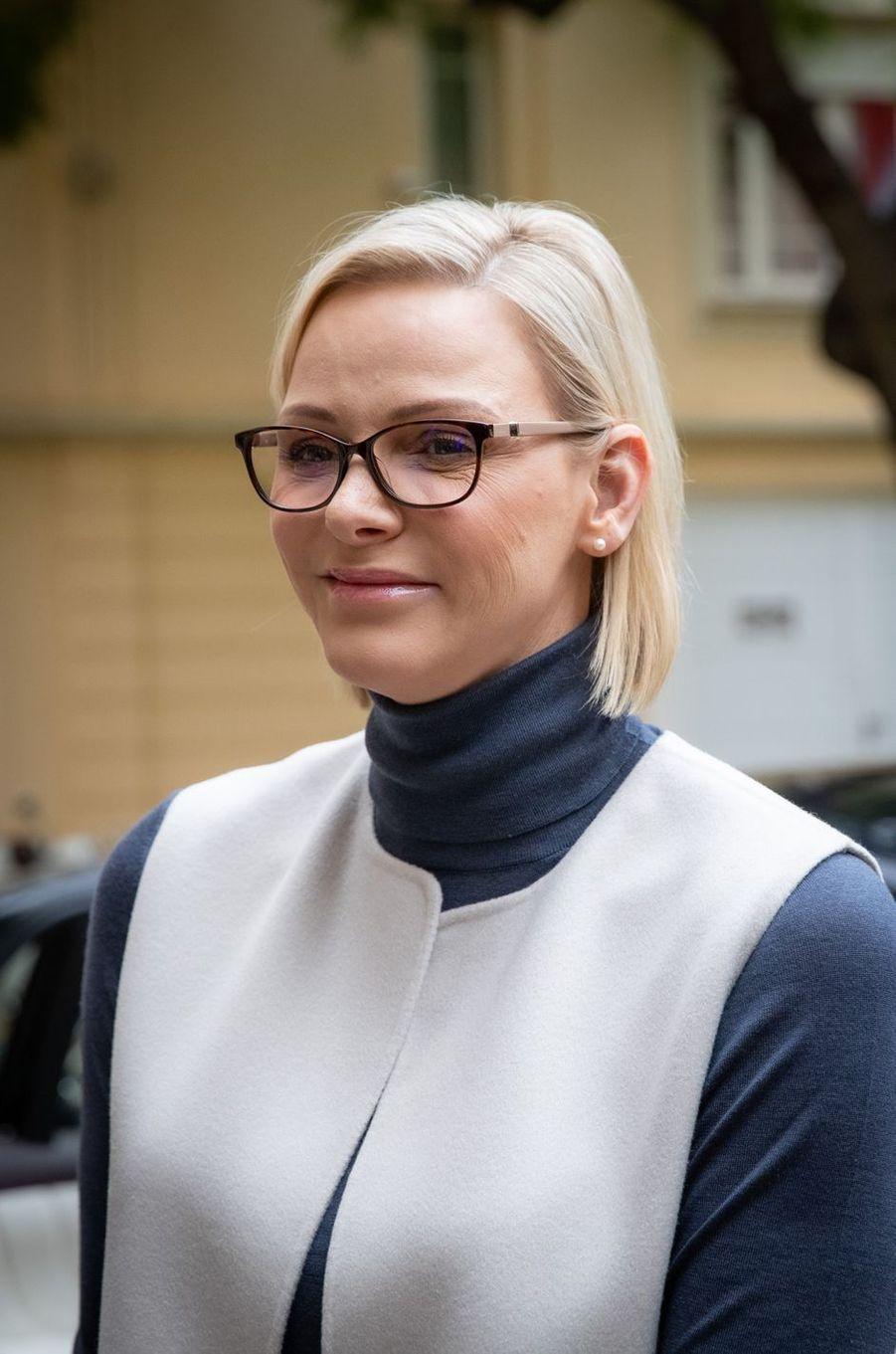 La princesse Charlène de Monaco porte des lunettes à Monaco, le 15 novembre 2019