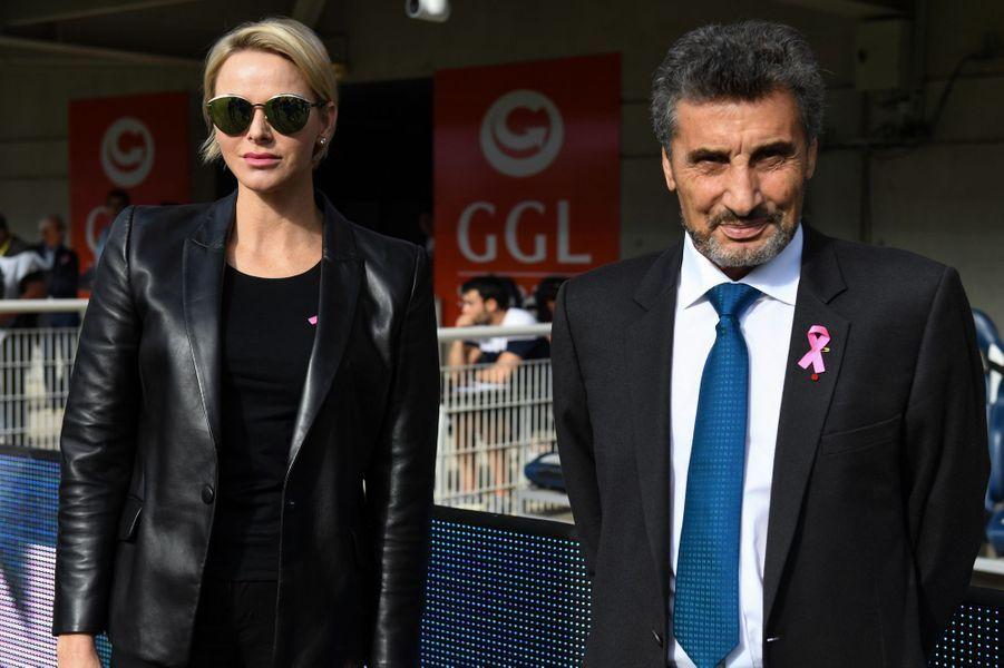 La princesse Charlène de Monaco avec Mohed Altrad à Montpellier, le 7 octobre 2018