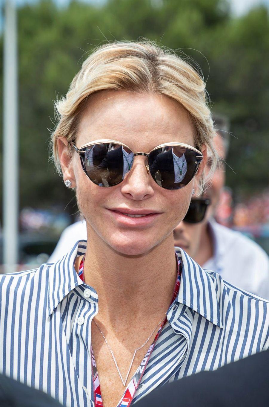 Les lunettes de la princesse Charlène de Monaco sur le circuit du Castellet, le 24 juin 2018