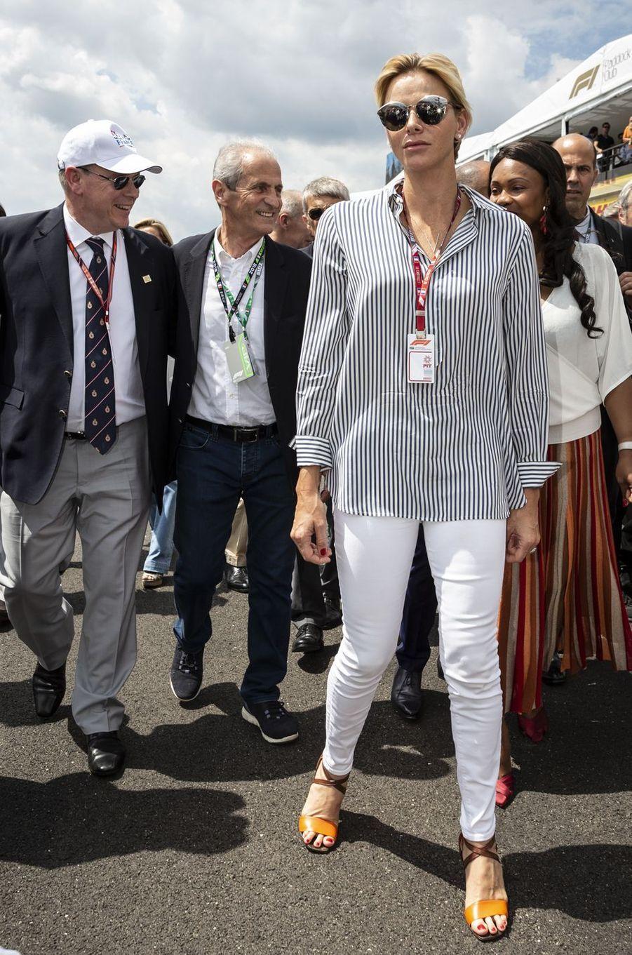 La princesse Charlène et le prince Albert II de Monaco au Grand Prix de France au Castellet, le 24 juin 2018