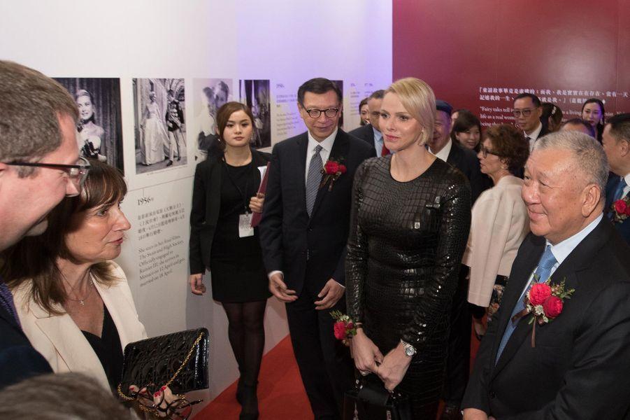 La princesse Charlène de Monaco inaugure l'exposition Grace Kelly à Macao en Chine, le 15 mai 2019