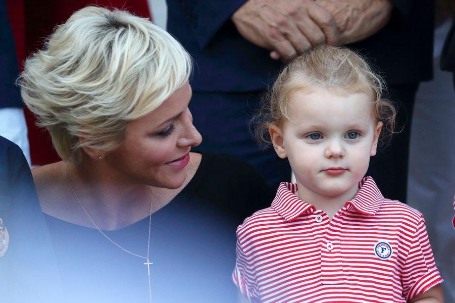 La princesse Charlène de Monaco avec sa fille la princesse Gabriella, le 1er septembre 2017
