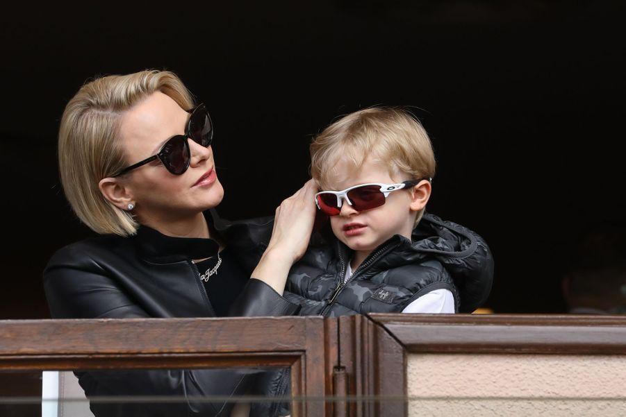 La princesse Charlène de Monaco avec son fils le prince Jacques, le 11 mai 2019