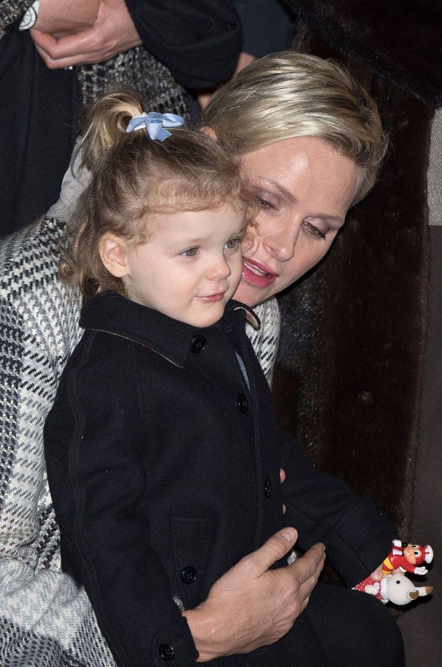 La princesse Charlène de Monaco avec sa fille la princesse Gabriella, le 26 janvier 2018