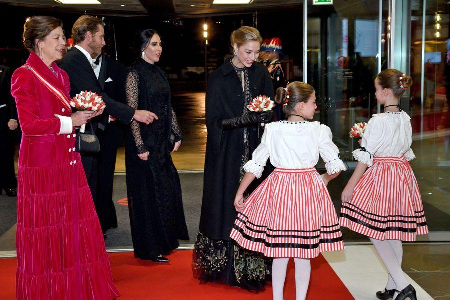 La princesse Caroline de Hanovre avec son fils Andrea Casiraghi et ses deux belles-filles à Monaco, le 19 novembre 2019