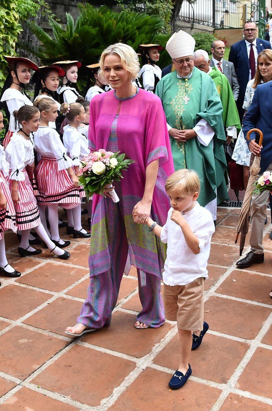 La princesse Charlène de Monaco et le prince Jacques à Monaco, le 6 septembre 2019
