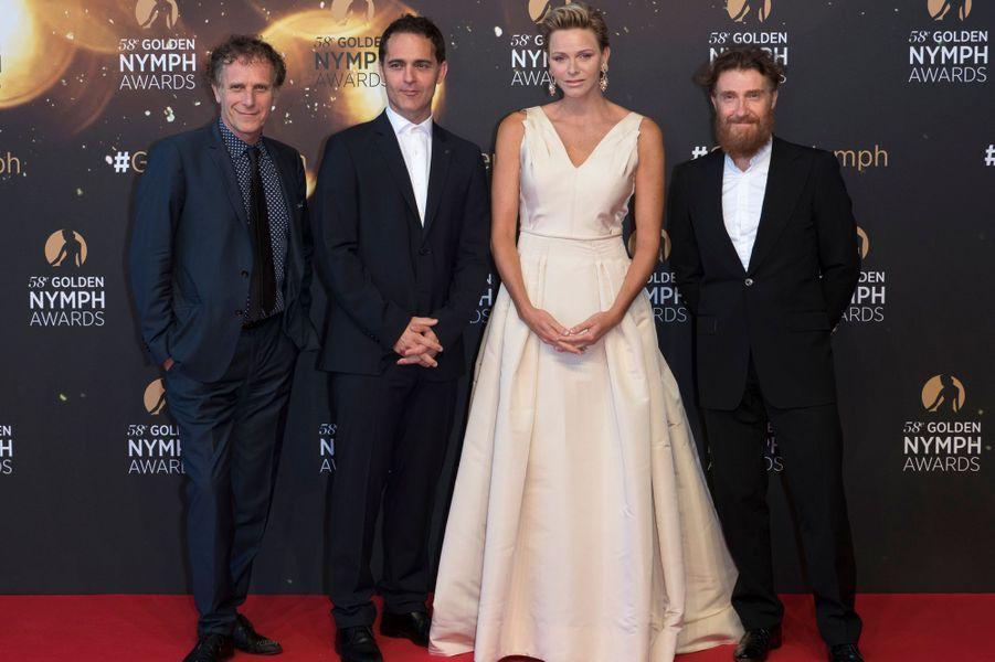 La princesse Charlène de Monaco avec Charles Berling, Alonso Pedro et Thierry Fremont à Monaco, le 19 juin 2018