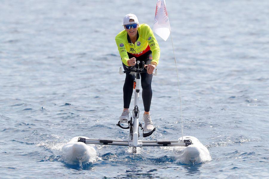 La princesse Charlène de Monaco lors du 2e Riviera Water Bike Challenge à Monaco, le 17 juin 2018