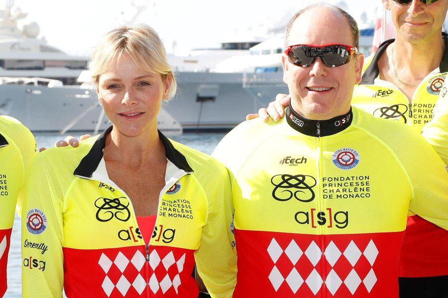 La princesse Charlène de Monaco et son époux le prince Albert II à Monaco, le 17 juin 2018