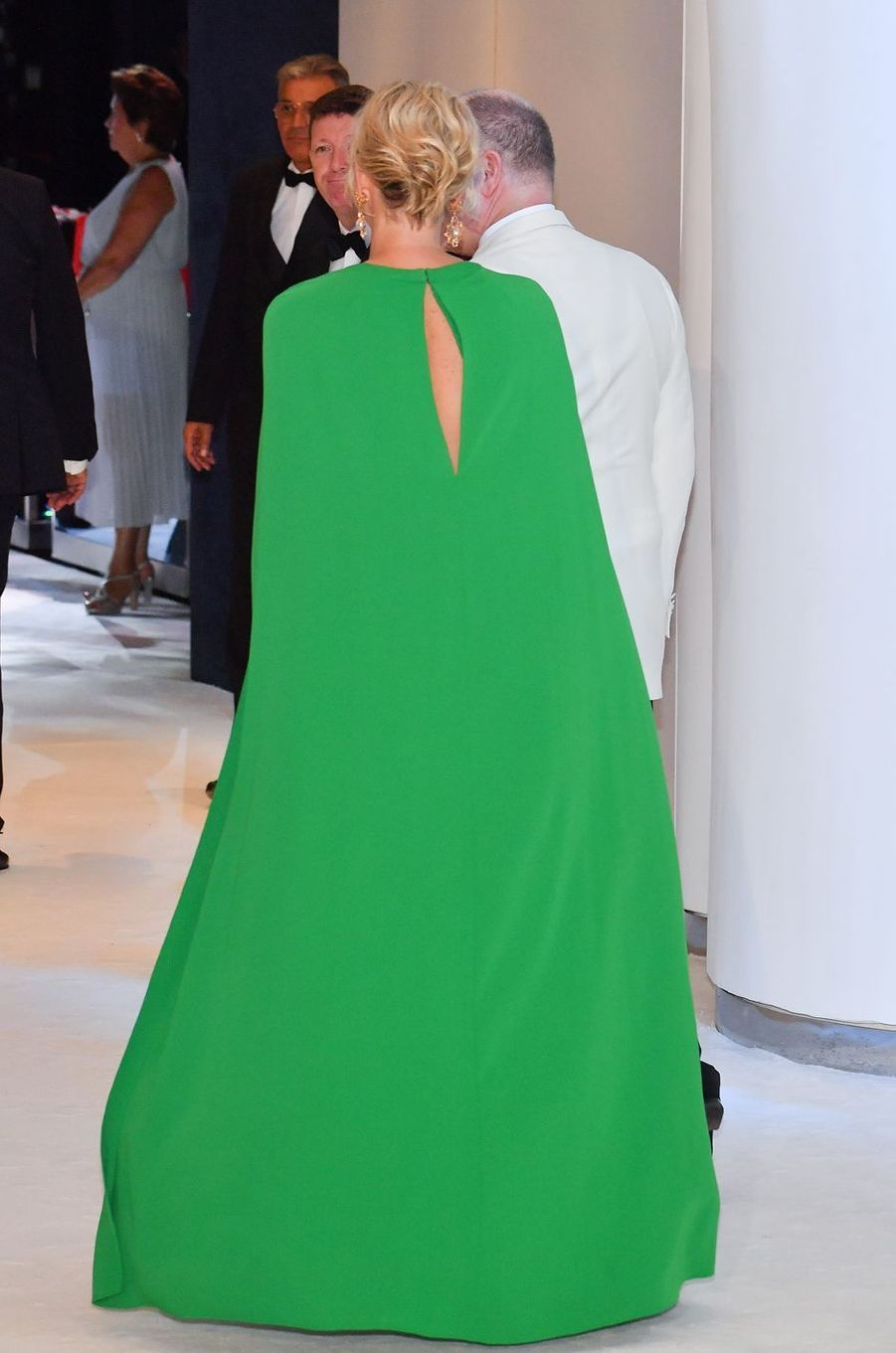 La princesse Charlène de Monaco, de dos, à Monaco, le 26 juillet 2019