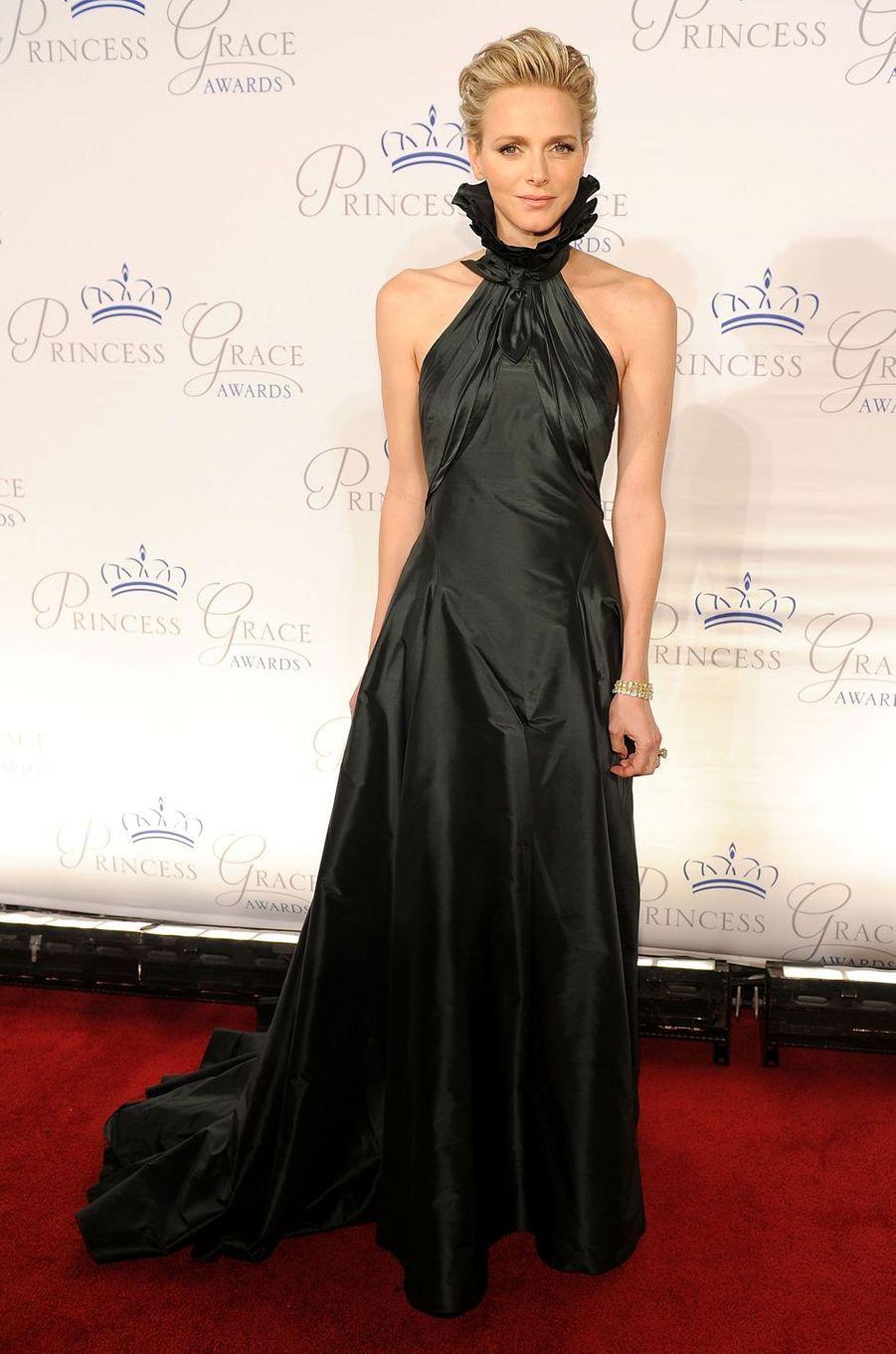 La princesse Charlène de Monaco, en Ralph Lauren, à New York, le 30 octobre 2013