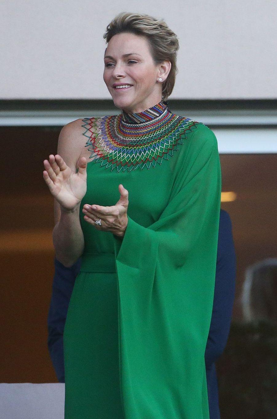 La princesse Charlène de Monaco à Monaco, le 21 juillet 2017