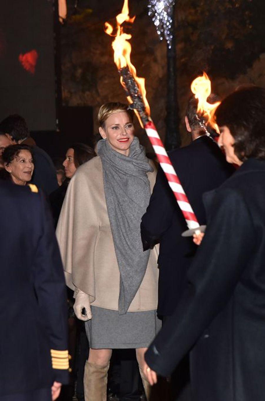 La princesse Charlène de Monaco lors de la Sainte-Dévote à Monaco, le 26 janvier 2016