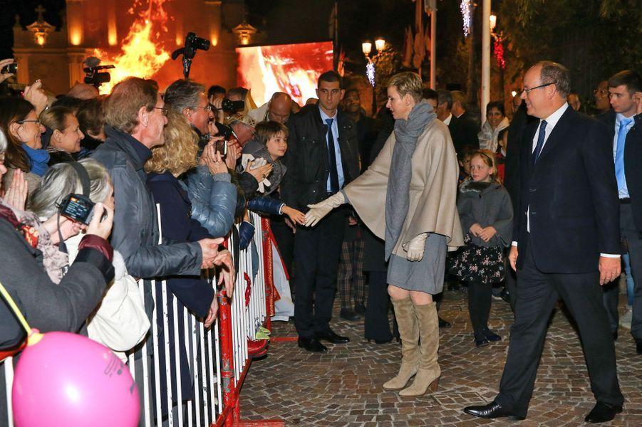 La princesse Charlène et le prince Albert II de Monaco lors de la Sainte-Dévote à Monaco, le 26 janvier 2016