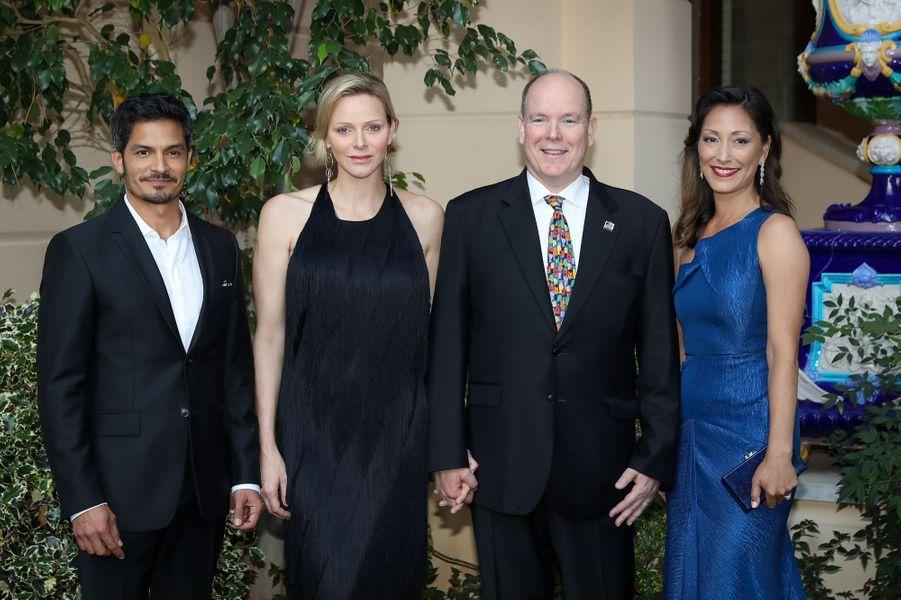 La princesse Charlène et le prince Albert II de Monaco avec Nicholas Gonzalez et Christina Chang, à Monaco le 16 juin 2019