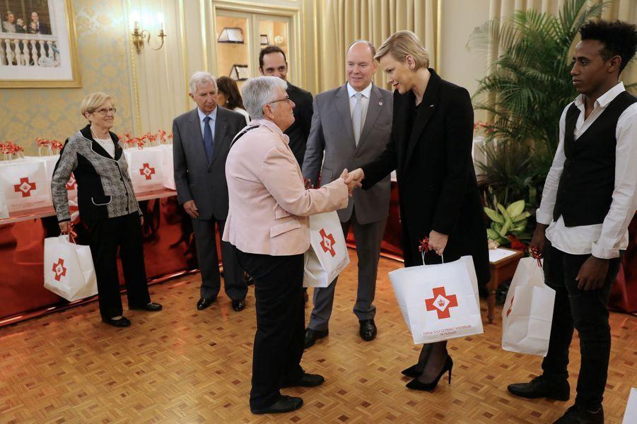 La princesse Charlène et le prince Albert II de Monaco à Monaco, le 17 novembre 2018