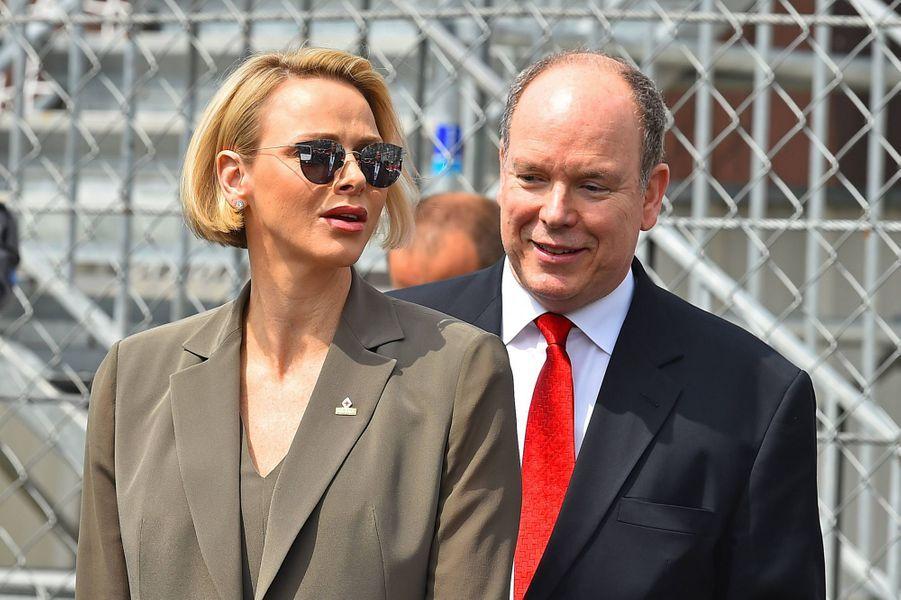 La princesse Charlène et le prince Albert II de Monaco, au Grand Prix de Monaco le 25 mai 2019