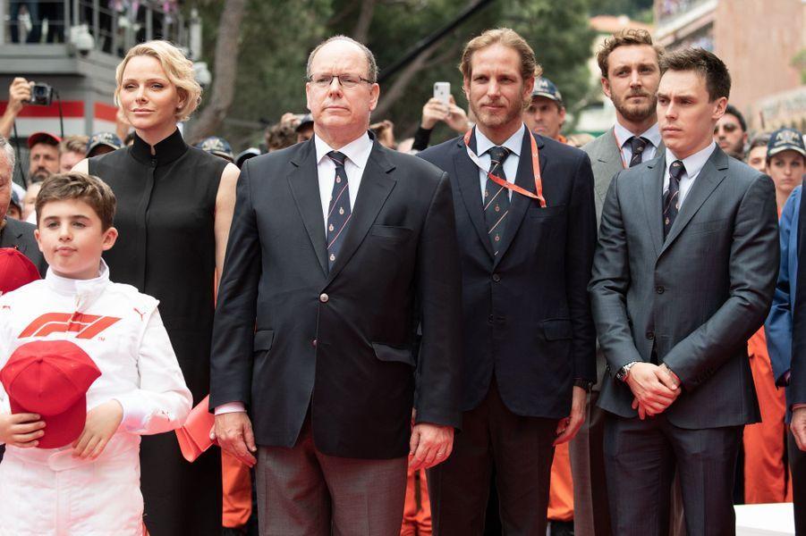 La princesse Charlène et le prince Albert II de Monaco avec Andrea et Pierre Casiraghi et Louis Ducruet, à Monaco le 26 mai 2019