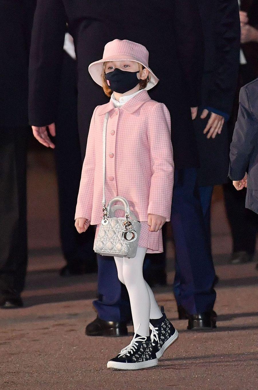 La princesse Gabriella de Monaco en total look Dior, à Monaco le 26 janvier 2021