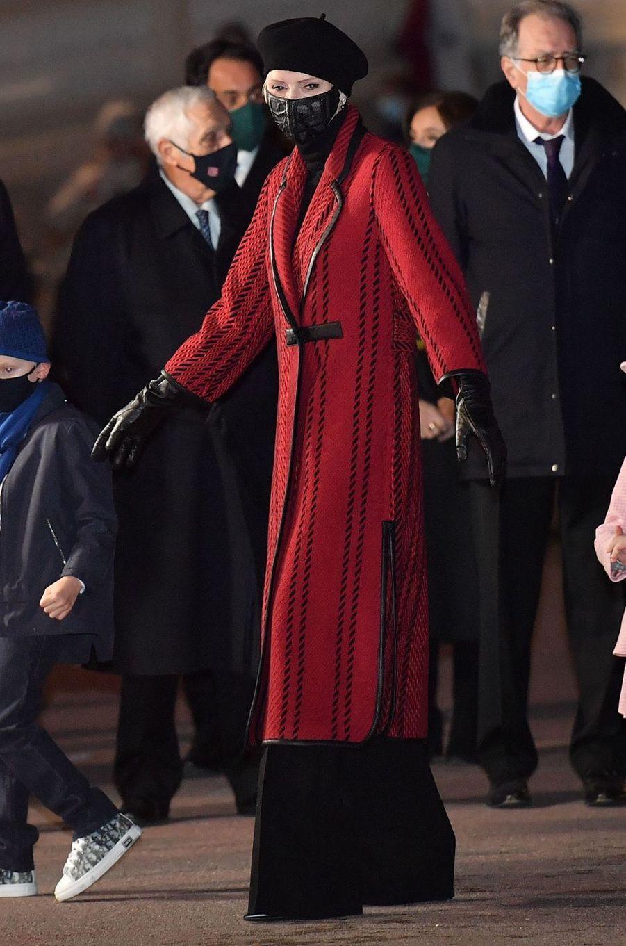 La princesse Charlène de Monaco dans un manteau Akris, à Monaco le 26 janvier 2021