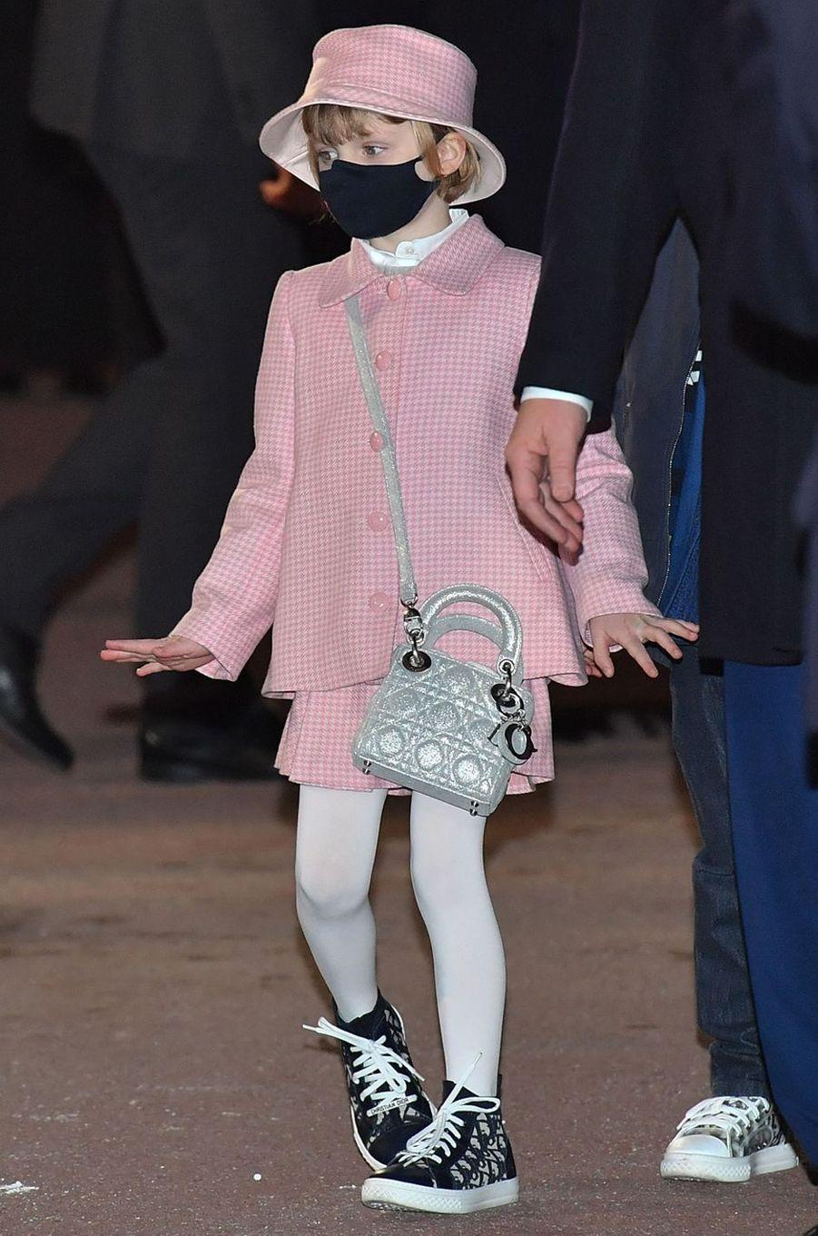 La princesse Gabriella de Monaco en Dior, à Monaco le 26 janvier 2021