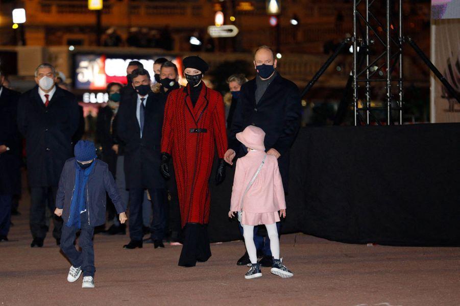 Les princes Albert II et Jacques et les princesses Charlène et Gabriella de Monaco, à Monaco le 26 janvier 2021