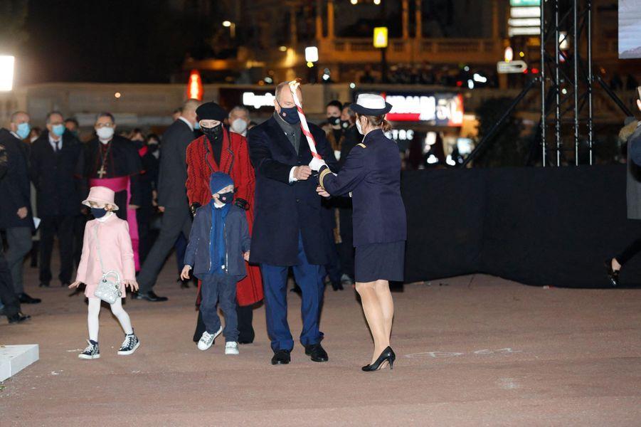 Les princesses Charlène et Gabriella et les princes Albert II et Jacques de Monaco, à Monaco le 26 janvier 2021