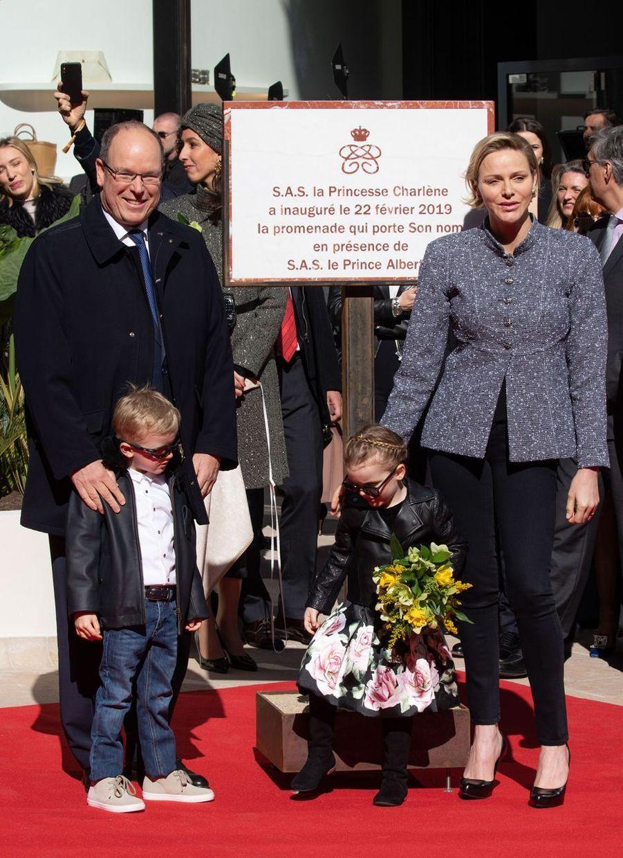 La princesse Gabriella et le prince Jacques de Monaco avec la princesse Charlène et le prince Albert II à Monaco, le 22 février 2019