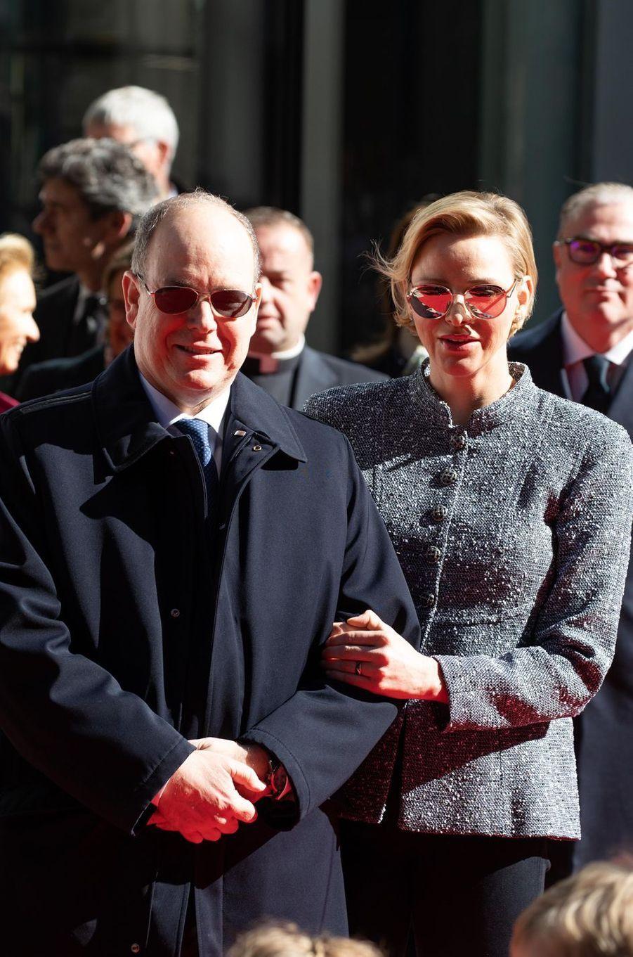 La princesse Charlène et le prince Albert II de Monaco à Monaco, le 22 février 2019