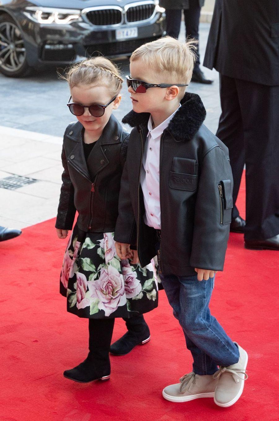 Les jumeaux, la princesse Gabriella et le prince Jacques de Monaco, à Monaco, le 22 février 2019