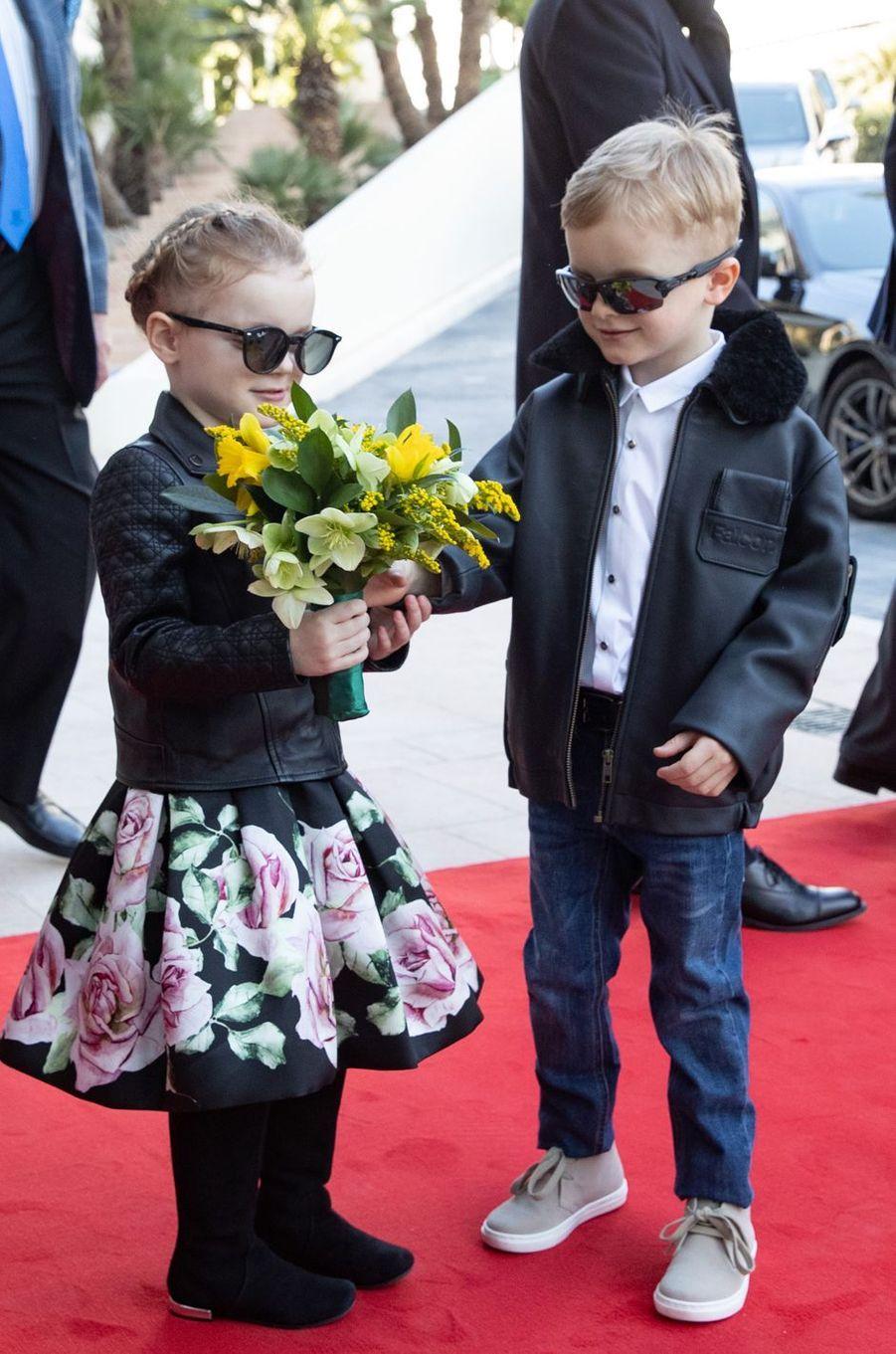 La princesse Gabriella et son jumeau le prince Jacques de Monaco à Monaco, le 22 février 2019