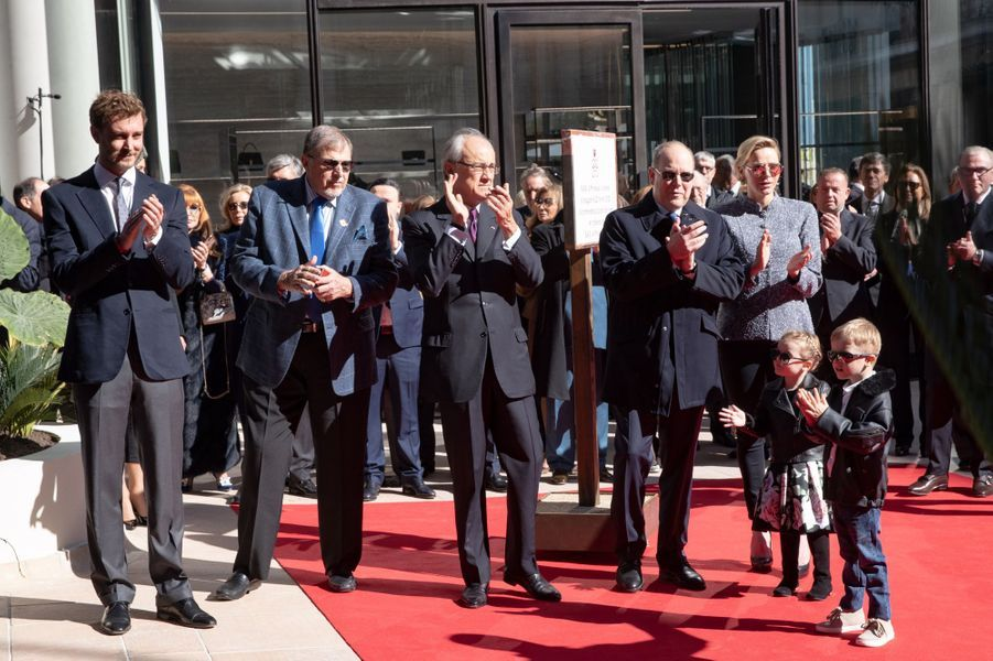La princesse Gabriella et le prince Jacques de Monaco avec la princesse Charlène, le prince Albert II et Pierre Casiraghi à Monaco, le 22 février 2019