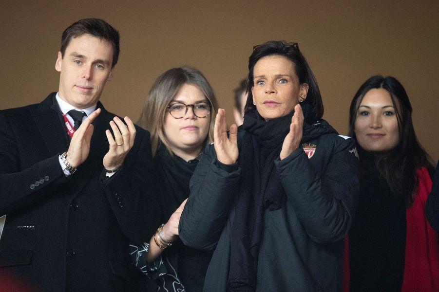 La princesse Stéphanie de Monaco avec son fils Louis Ducruet, sa fille Camille Gottlieb et sa belle-fille Marie à Monaco, le 15 janvier 2020