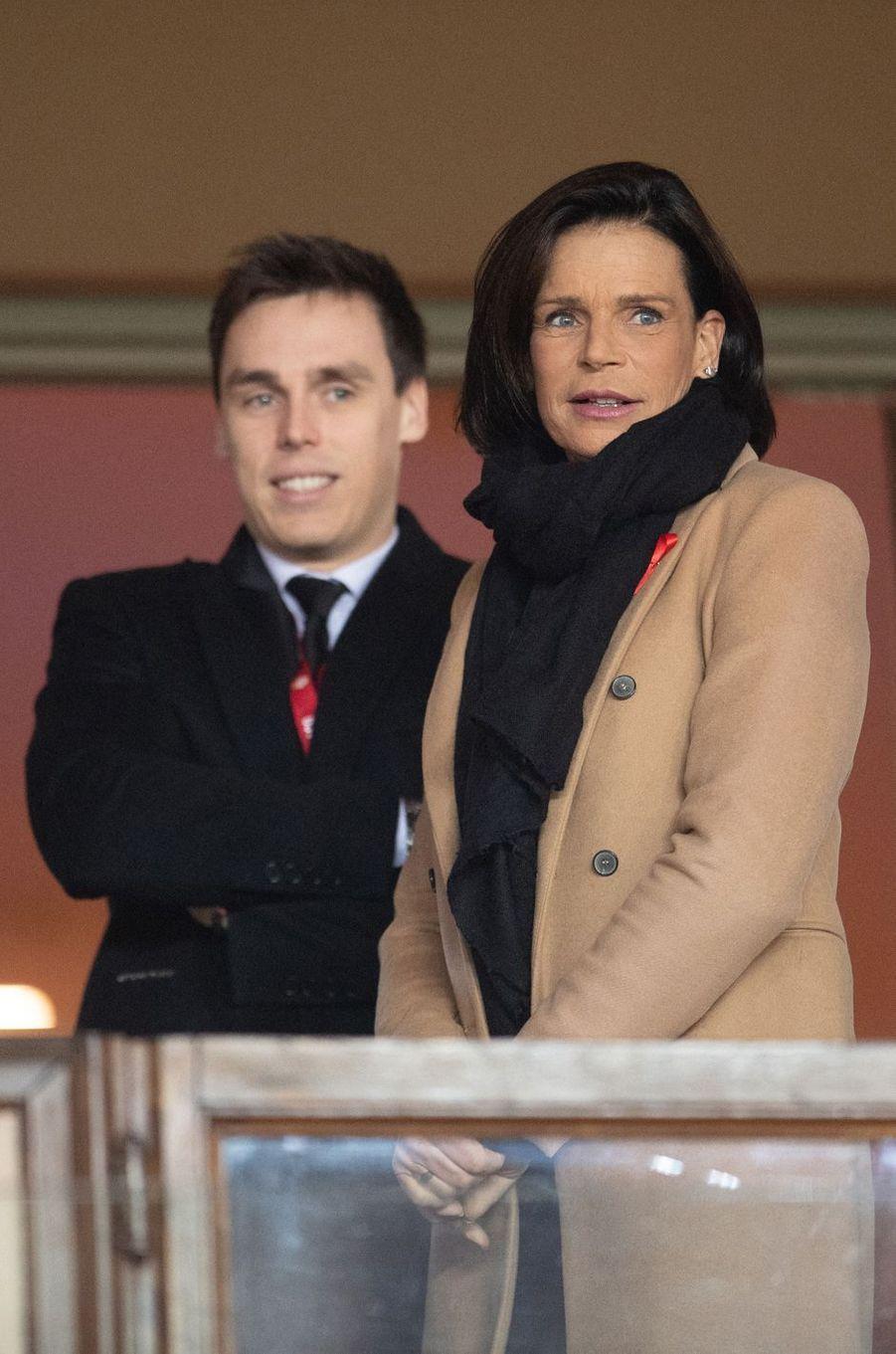 La princesse Stéphanie de Monaco avec son fils Louis Ducruet à Monaco, le 15 janvier 2020
