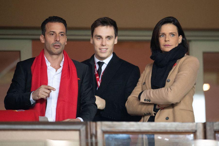 La princesse Stéphanie de Monaco avec Ludovic Giuly et Louis Ducruet à Monaco, le 15 janvier 2020
