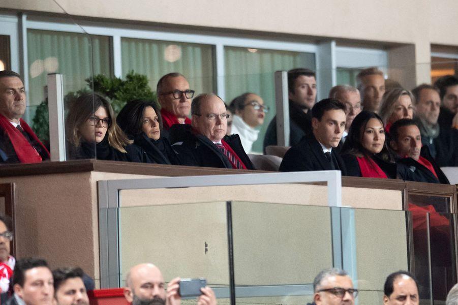 La famille princière de Monaco au stade Louis-II à Monaco, le 15 janvier 2020