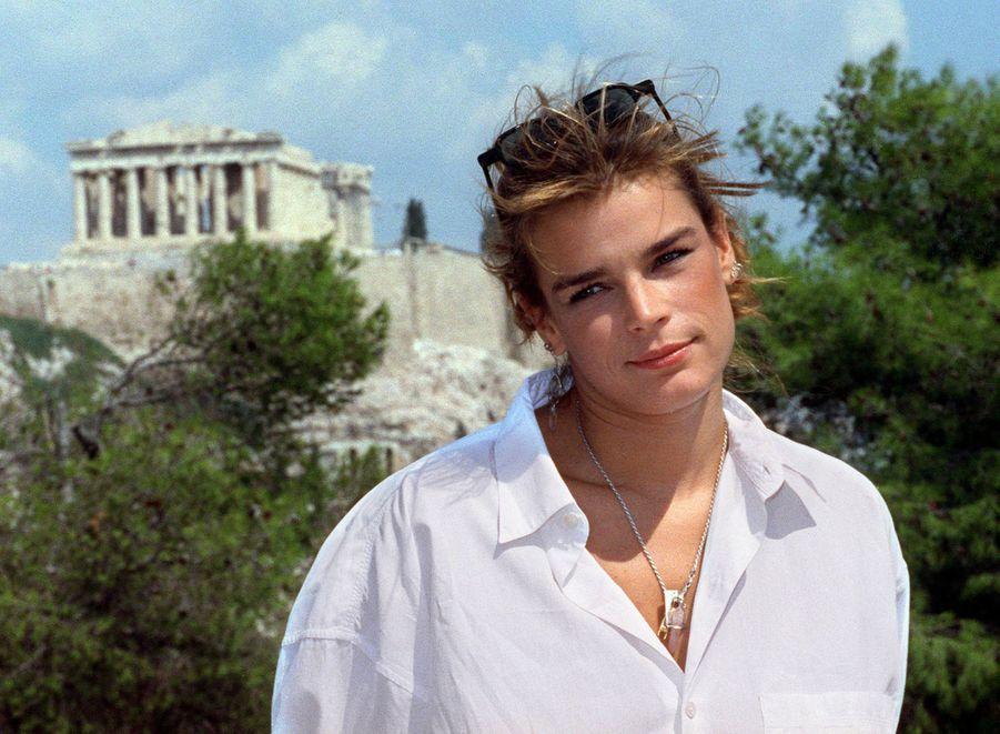 La princesse Stéphanie de Monaco à Athènes pour le tournage d'un clip, le 3 septembre 1991
