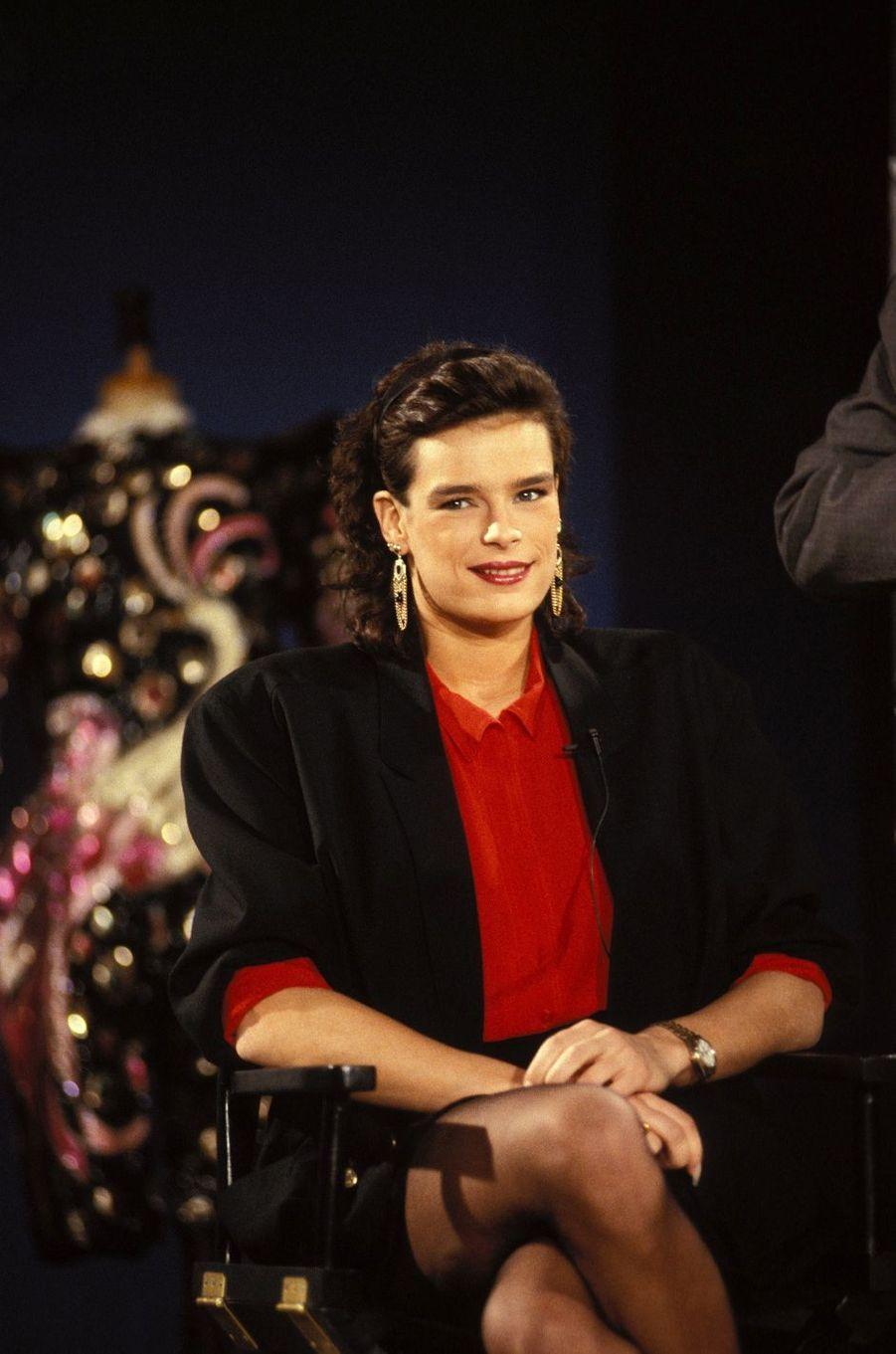 """La princesse Stéphanie de Monaco le 7 février 1989 dans l'émission """"Les Dossiers de l'écran"""""""