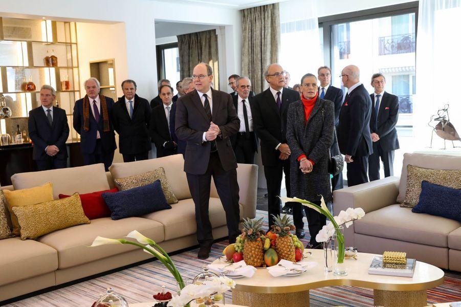 La princesse Stéphanie et le prince Albert II de Monaco dans la suite Prince Rainier III à l'Hôtel de Paris Monte-Carlo à Monaco, le 29 janvier 2019